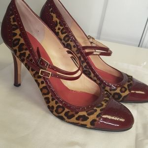 Kate Spade Leopard & Wine Patent Mary Jane Heels